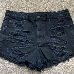 American Eagle High Waisted Ripped Jean Shorts